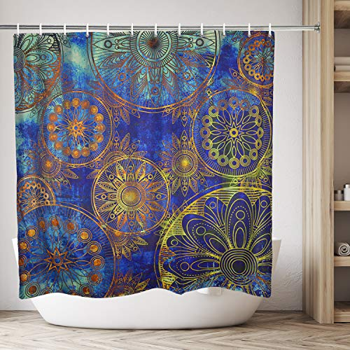 Mandala Shower Curtain Waterproof Indian Bohemian Colorful Blue and Gold Mandala Shower Curtain Sets for Bath Room Curtain Decor with Hooks(59