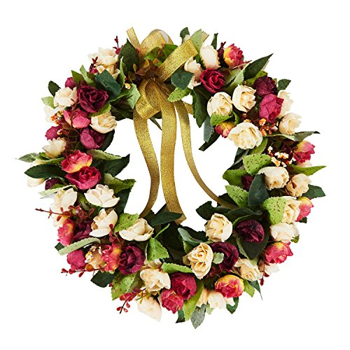 Baigio Woman 14inch Flower Wreath Handmade Artificial Floral Silk Wreath for Front Door Home Wall Wedding Decoration by Baigio Woman