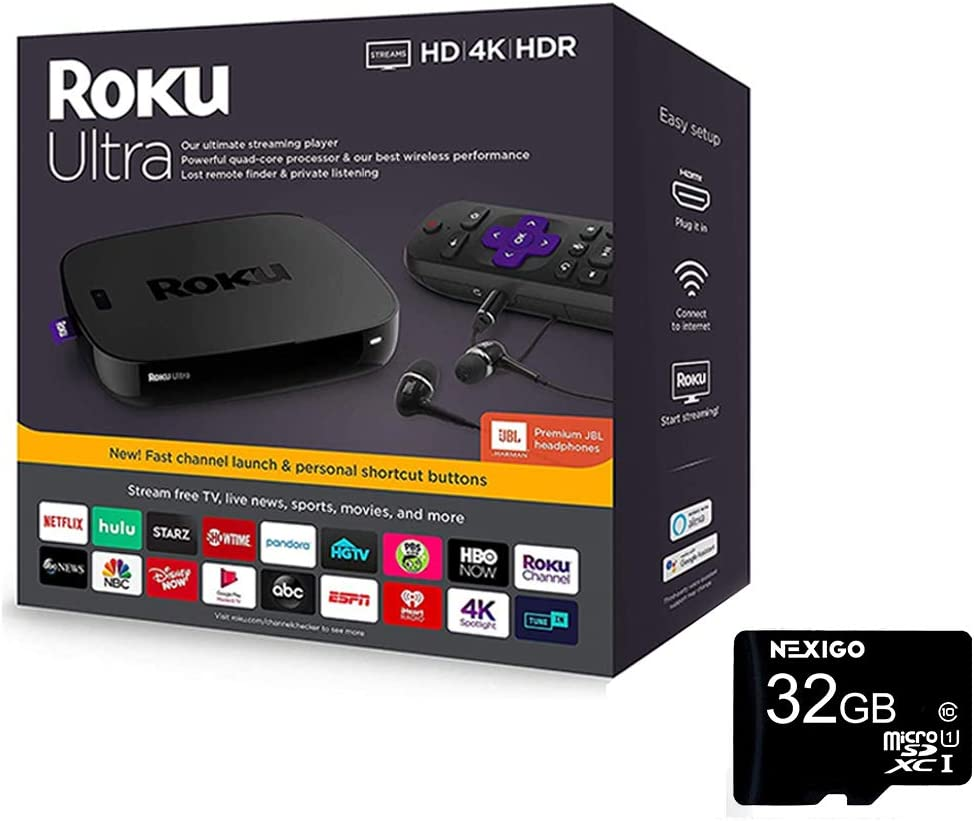Newest Roku Ultra Streaming Media Player 4K/HD/HDR, JBL Headphones, Enhanced Voice Remote with TV Controls and Shortcuts, HDMI, Ethernet, Micro SD + NexiGo 32GB MicroSD Bundle