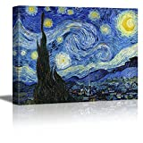 """Wall26 - Starry Night by Vincent Van Gogh - Oil Painting Reproduction on Canvas Prints Wall Art, Ready to Hang - 36"""" x 48"""""""