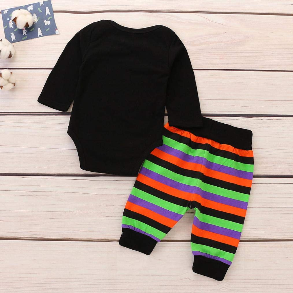 Memela Baby Clothes,Toddler Baby Boys Girls Long Sleeve Letter Romper Striped Halloween Outfits Set