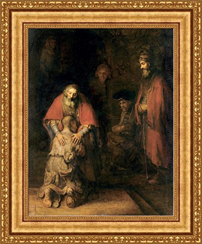 Rembrandt Harmenszoon van Rijn The Return of the Prodigal Son Framed Canvas Giclee Print - Finished Size (W) 23.1