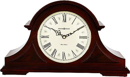 Howard Miller Burton II Mantel Clock 635-107 Windsor Cherry Wood with Quartz, Triple-Chime Movement