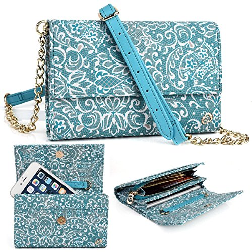 EnvyDeal Mint Green Paisley Weekender Crossbody Bag for Samsung Z3, Galaxy S8, S7 5.1