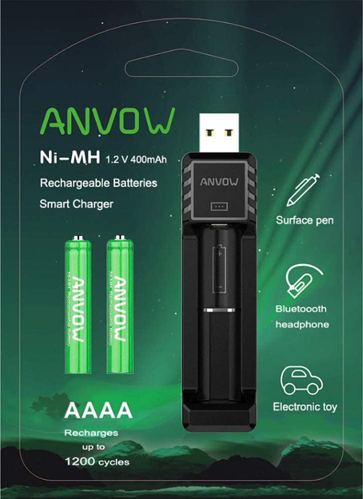 ANVOW Smart AAAA Battery Charger with 2 Counts Rechargeable AAAA Batteries - Ni-MH 1.2V 400mAh 1200 Cycles Surface Pen Active Stylus Rechargables Battery