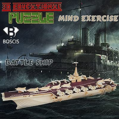 3D Puzzle Aircraft Carrier, Handmade Assemble Puzzle Toys, Educational Wooden Hand Craft Construction Kit, Christmas Gift For You