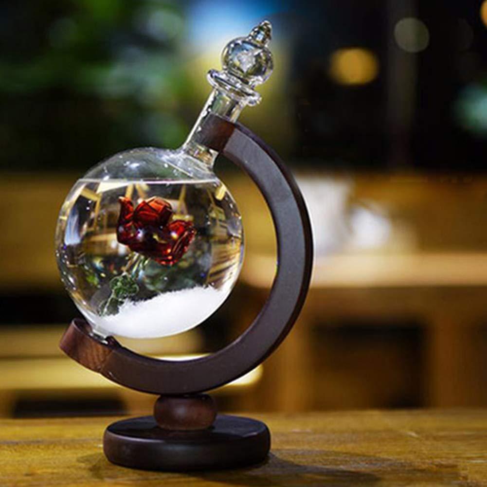 JHion Storm Glass previsione Meteo previsioni Bottiglia Cristallo Rosso Rose Flower Globe barometro con Base in Legno Mestieri casa Ufficio Desktop Decorazioni Compleanno