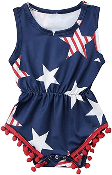 Baby Girl Boy 4th of July Ruffled Romper American Flag Bodysuit Jumpsuit Independecen Day Outfit Set