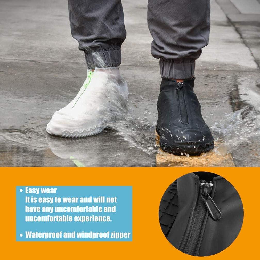 Amitafo Cubierta del Zapato Funda de Zapato Reutilizable y Impermeable para D/ías de Lluvia y Nieve Funda de Silicona para Zapatos con Suela Antideslizantey Cremallera