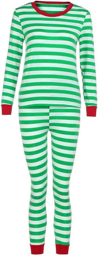 ZOMUSA Christmas Winter Pajamas Long Sleeve and Striped Bottoms Cotton Blouse +Pants Set Sleepwear
