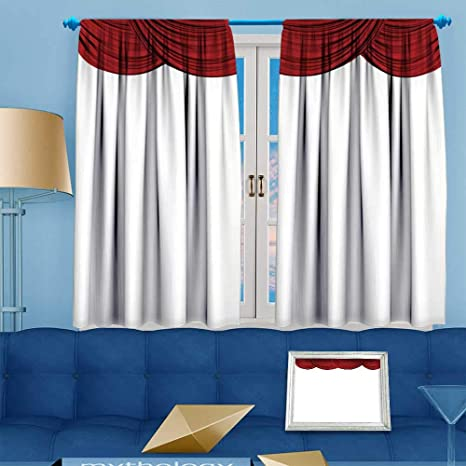 Amazon PRUNUS Blackout Curtain Red Fabric Theatre Drapes On A