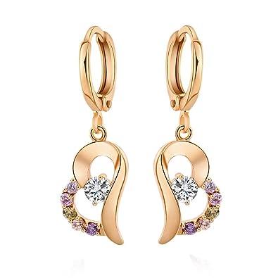 Yazilind 18K Gold Plated Cubic Zirconia Hoop Earrings Heart Drop Dangle Earrings for Women PsGSknhs