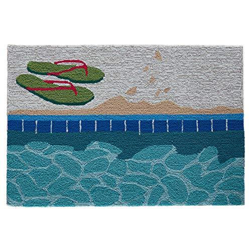 003 Front Porch Coastal Poolside Summer Pool Indoor/Outdoor Rug 2' X 3' Blue Water ()