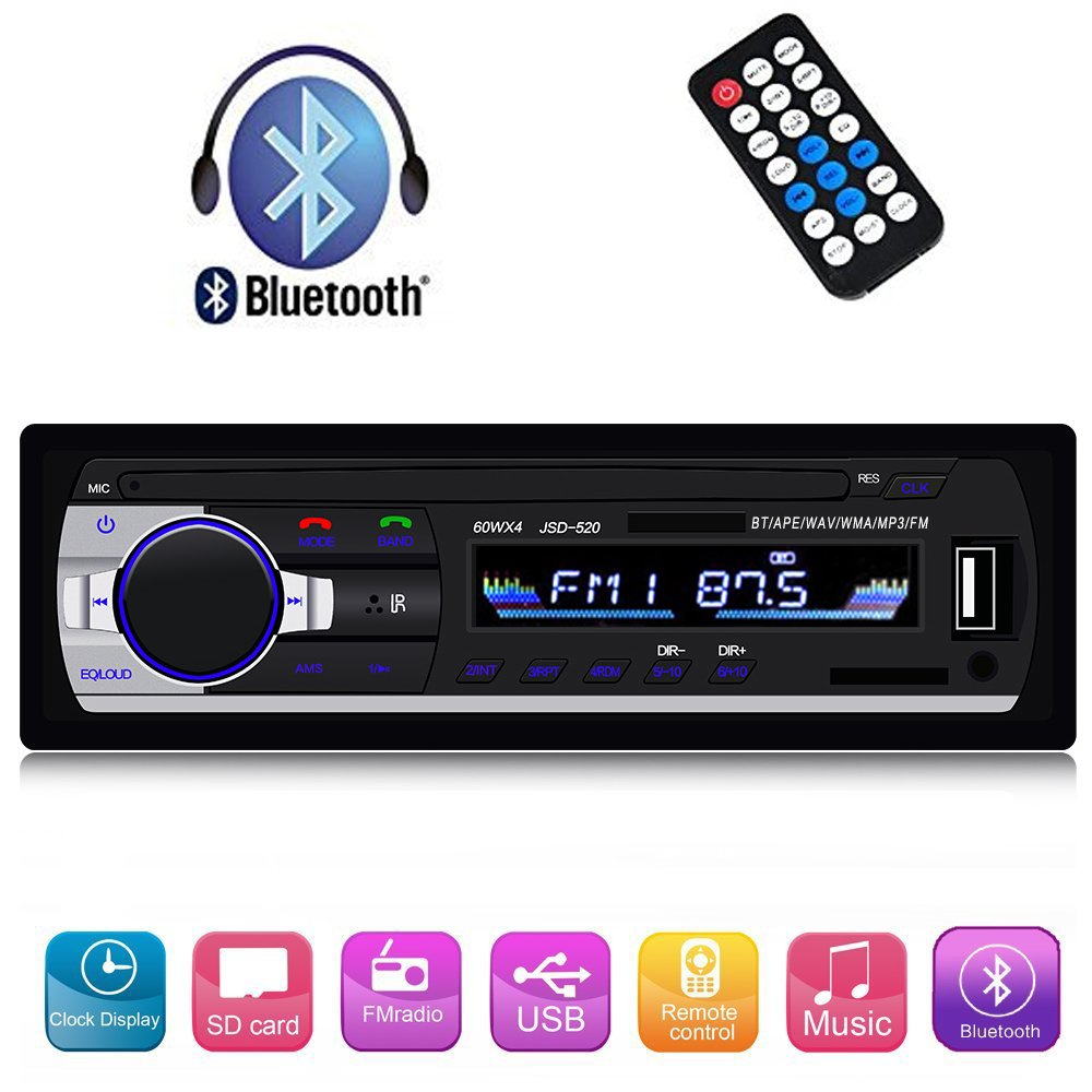 Single Din Car Stereo Reveiver with Bluetooth Car Audio FM Radio MP3 Player with USB/SD/AUX Wireless Remote Control