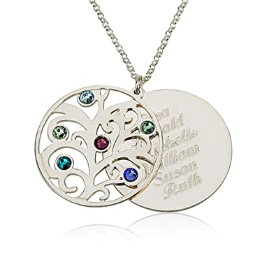 Amazon personalized family necklace birthstones pendant 925 amazon personalized family necklace birthstones pendant 925 sterling silver birthstone necklace custom made with any names 16 inches jewelry aloadofball Images