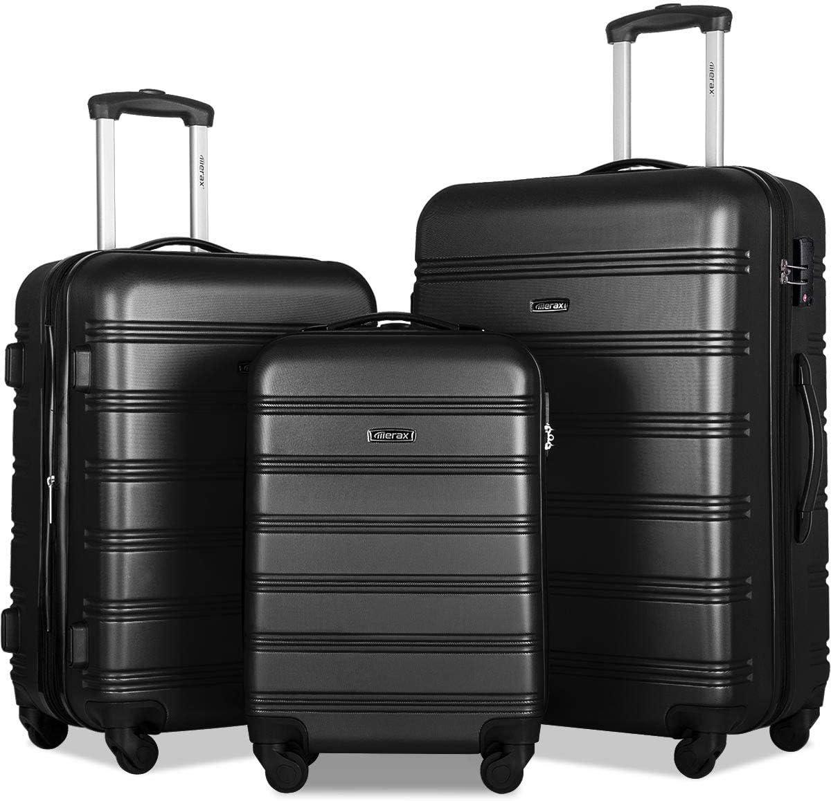 Merax Expandable Luggage Sets with TSA Locks, 3 Piece Lightweight Spinner Suitcase Set Black2020