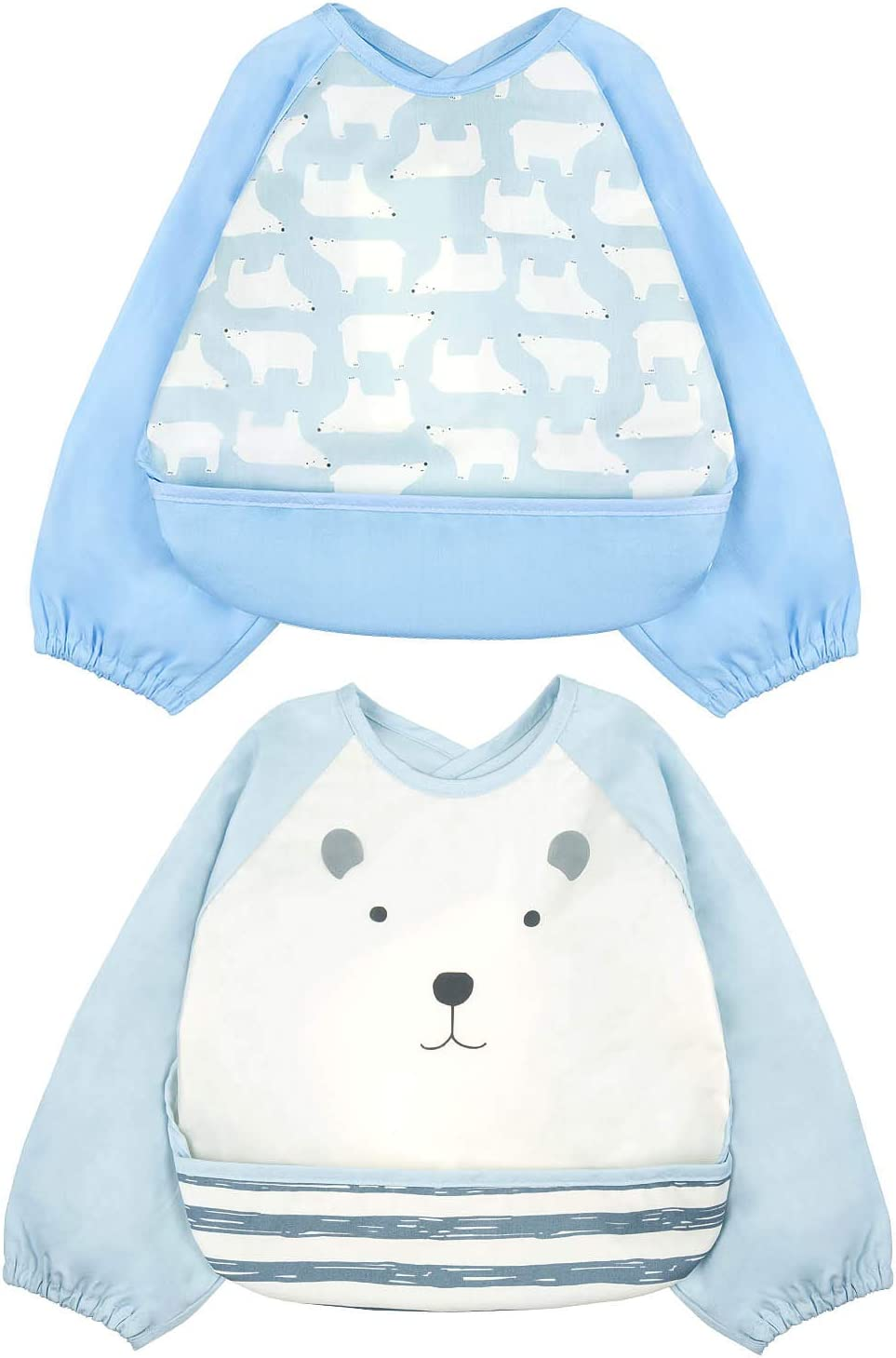 2 PCS Waterproof Unisex Waterproof Long Sleeved Bib for Infant Toddler 6 Months to 3 Years Old ZWOOS Bibs with Sleeves