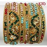 Tyagi Craft Indian Bollywood Bridal Fancy Crystal Asian Jewellery Multicolour Bangles Kada Bracelets