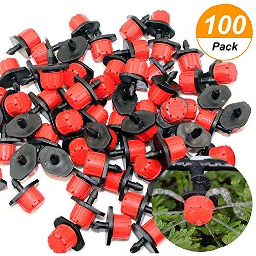 - RESNSTAR 100 Pack Drip Irrigation Emitters Sprinklers, Adjustable Micro Sprinkler Heads Watering System Flower Beds, Gardens, Lawn