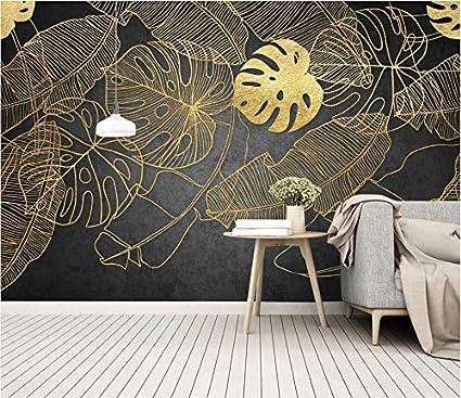 Wxlsl Papier Peint Fond D/Écran 3D Personnalis/é For/êt Tropicale Nordique Or Platine Feuille De Bananier Mural Tv Fond Mur 280cmx255cm