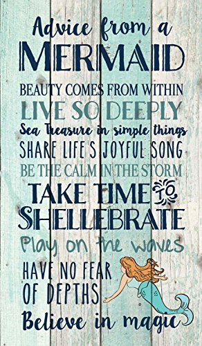 P Graham Dunn Advice from a Mermaid Believe in Magic 24 x 14 Wood Pallet Wall Art Sign - Mermaids Decor
