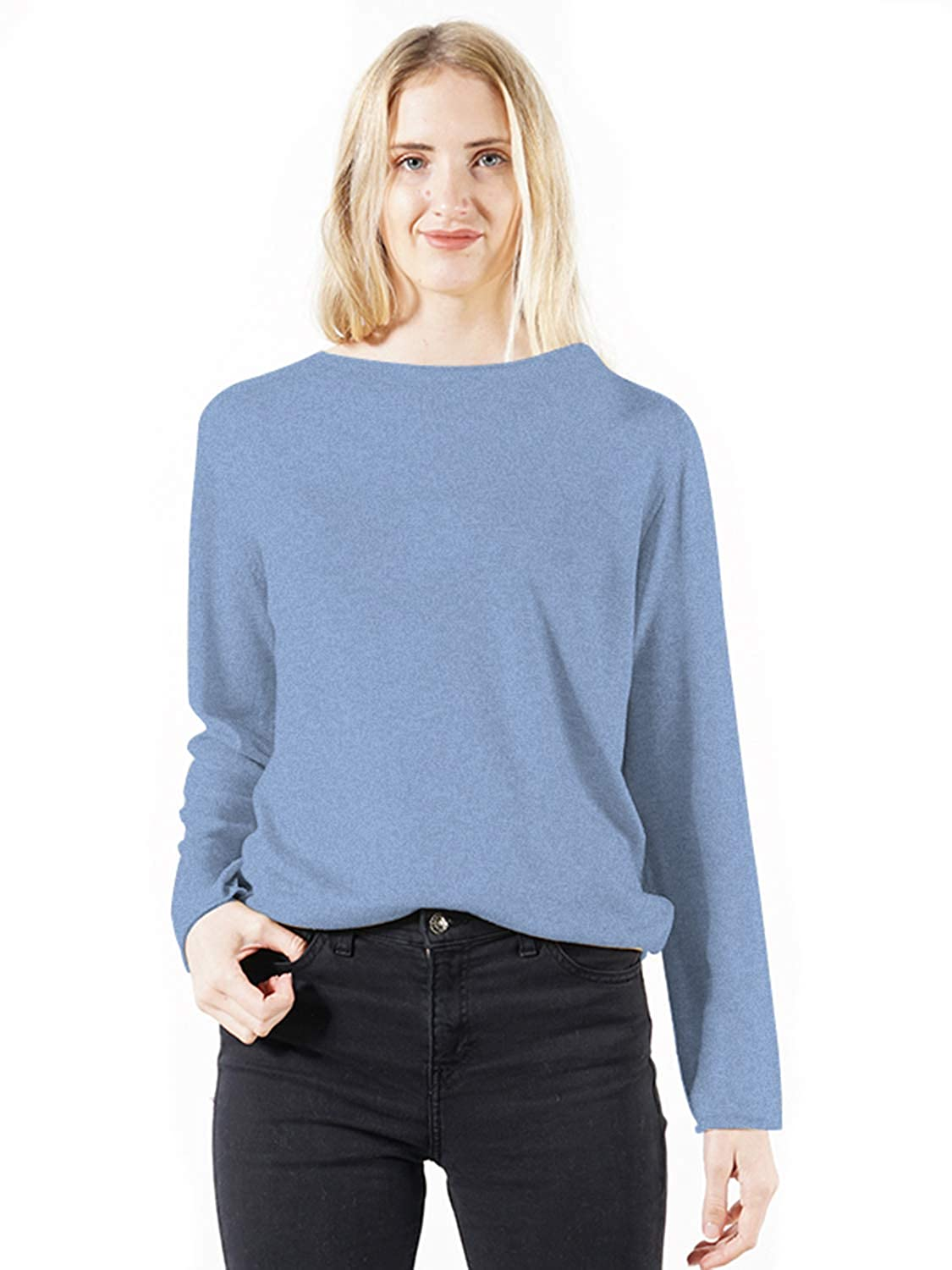 Light bluee DEEBAI Women's Crew Neck Long Sleeve Sweatshirts Casual Loose Solid color Knitted Top Blouse