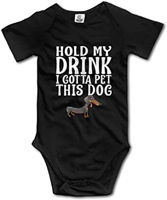 TianNelex Hold My Drink I Gotta Pet This Dog Girls Bodysuits Clothes for Organic Onesies