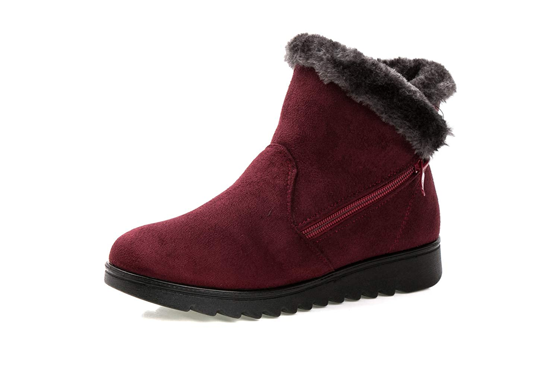 LIEBE721 Bottes de Neige pour Femmes Bottes en Peluche zippées Coton Mode Chaude antidérapantes Chaussures de Plein air