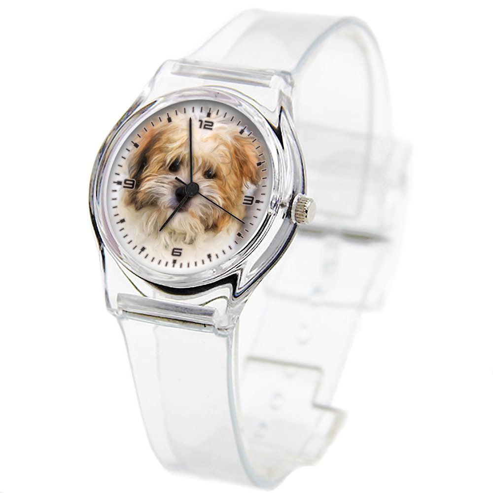 Personality Transparent Wristwatch Transparent Strap Summer Decoration Woman Child Teacher Teen Young Girls Children Kids Watches Colorful Flower-371.Painting Dog Oil Painting Photo Painting Terrier