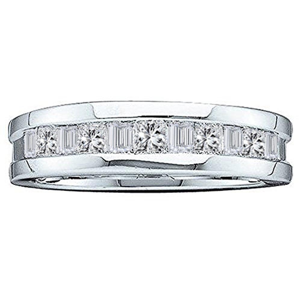 Dazzlingrock Collection 0.55 Carat (ctw) 14K Baguette & Princess Cut Diamond Men's Wedding Band 1/2 CT, White Gold, Size 9