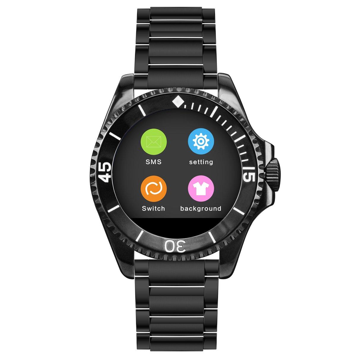 Binlun Smart Watch Bluetoothタッチ画面Watch for iPhone Androidスマートフォン ブラック B071F3JHP3 ブラック ブラック
