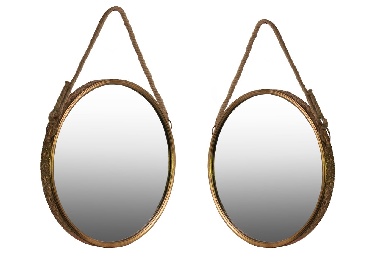 Urban Trends Metal Wall Mirror with Rope Handle (Set of 2), Antique Gold Foil - Item Type: Mirror Item Material: Metal Item Finish: Metallic Finish - bathroom-mirrors, bathroom-accessories, bathroom - 619ugthFmcL -