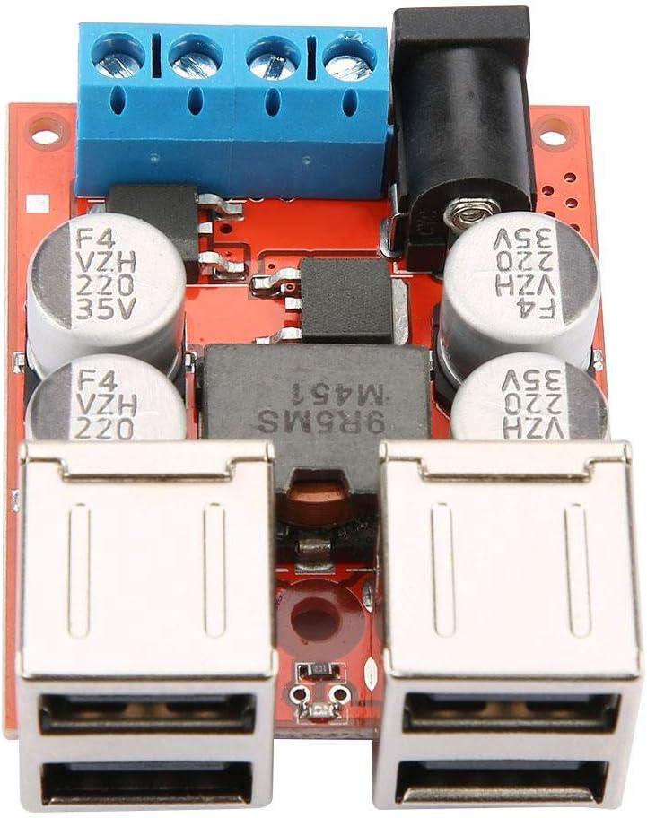 Hyuduo DC-DC Converter, fuente de alimentación reductor de voltaje Buck módulo 12V 24V 8-35V a 5V 8A 4 salida USB cargador de coche regulador