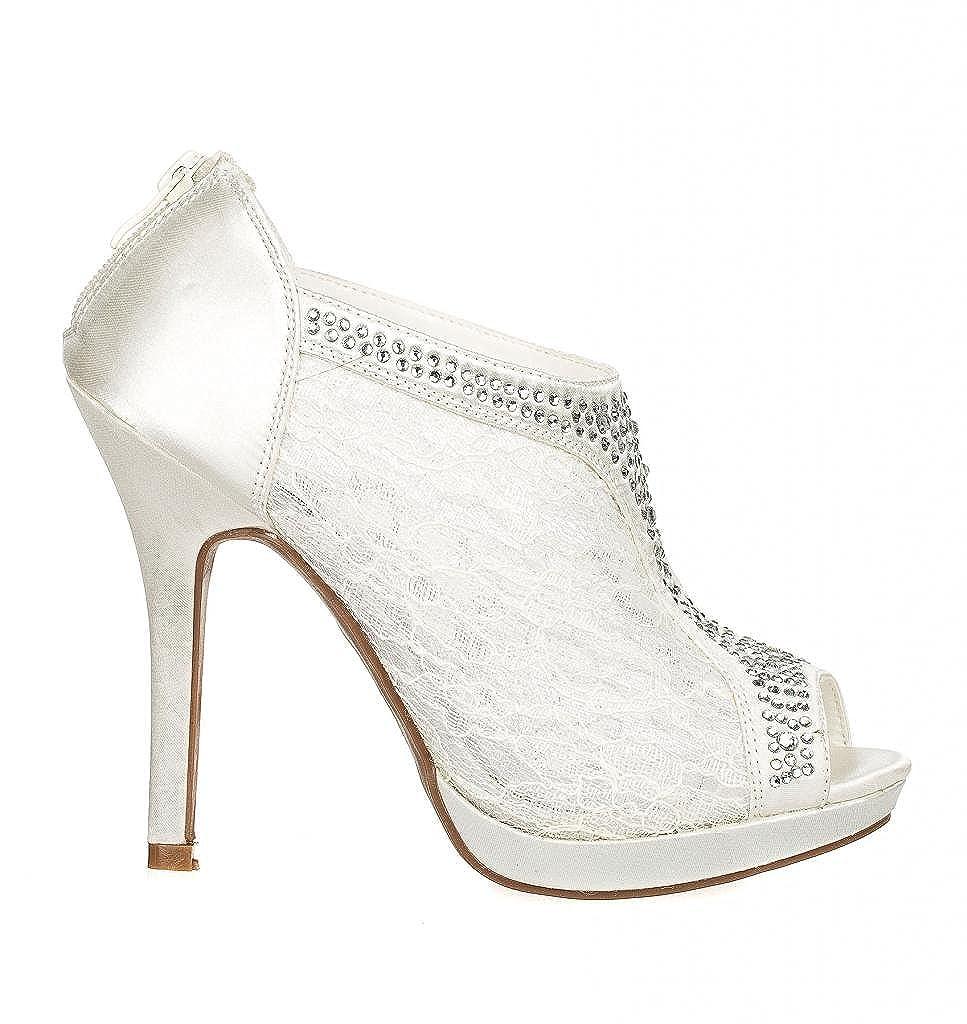 58a51d2faae7cc Amazon.com  Wedding   Bridesmaid Shoes Lace High Heel Rhinestone Peep Toe  Shootie YAEL-9  Shoes