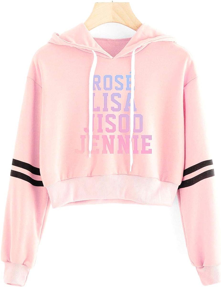 SIMYJOY Womens Blackpink Fans Crop Hoodie Girls Kpop Dancing Sports Hooded Sweatshirt Summer Fashion
