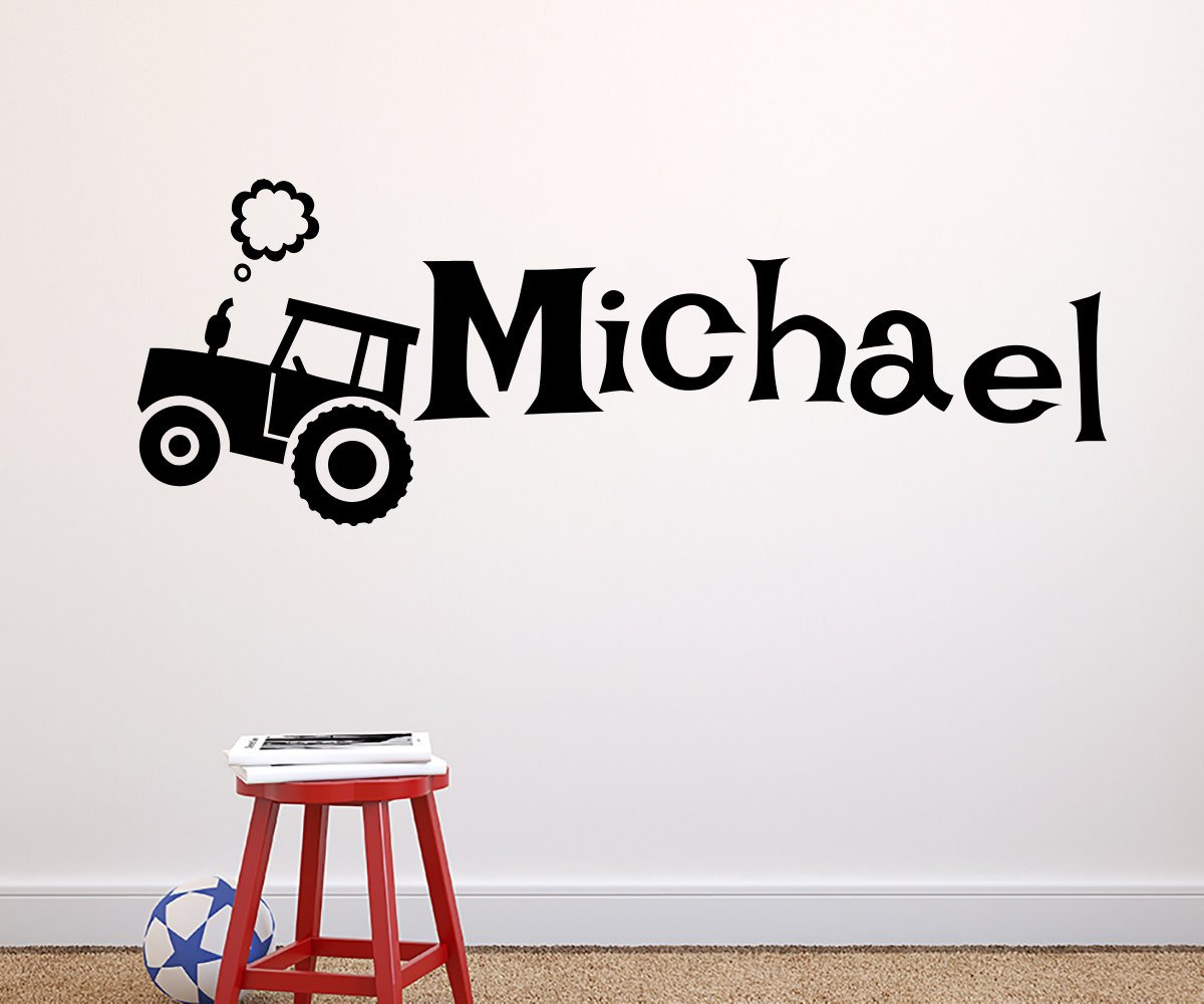 Zixinriues Personalized Tractor Decal Boys Vinyl Wall Decal Nursery Decal Custom Name Sticker Bedroom Country Boy Farm Decal Vinyl H28''