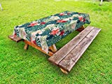 multi crepes party - Leaf Outdoor Tablecloth by Ambesonne, Summer Beach Holiday Themed Hibiscus Plumeria Crepe Ginger Flowers, Decorative Washable Picnic Table Cloth, 58 X 104 Inches, Pink Red Green and Dark Green