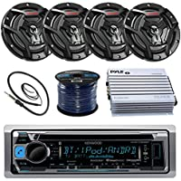 Kenwood KMR-D365BT Marine Boat Radio Stereo CD Player Receiver Bundle Combo With 4x JVC CS-DR6200M 6.5 2-Way Coaxial Speakers + 360-Watt Amplifier + Enrock Radio Antenna + 50 Foot 16g Speaker Wire