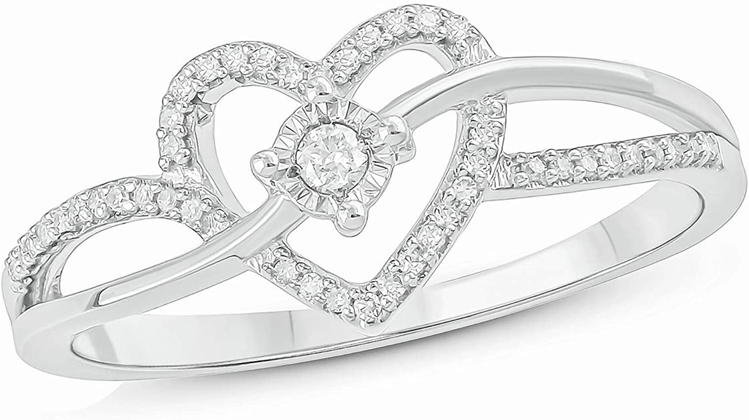 Cali Trove 925 Sterling Silver Accent Round White Natural Diamond Heart With Miracle Plate Promise Ring for Women