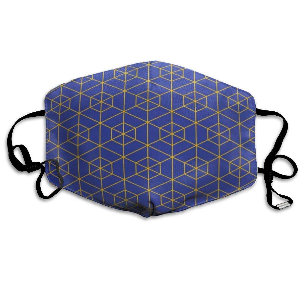 Dust-proof Thermal Masks, Suitable For Running And Cycling Outdoor Activities, Multi-purpose Masks-Graphic Bauhaus Blue And Yellow Hexagonal Outline Grid Pattern Abstract Block