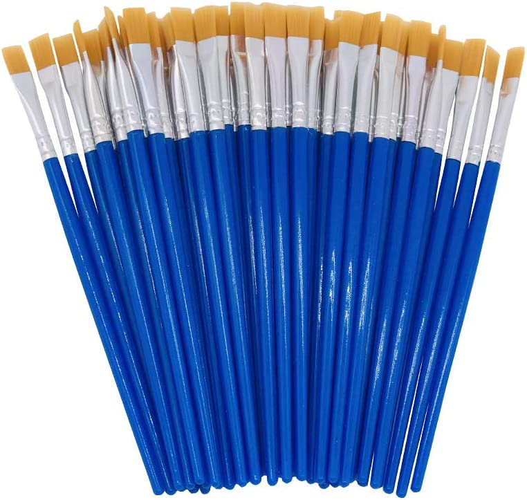 50 Pieces 13.5cm Flat Tips Small Brushes for School and Kids Blue Little Painting Brushes with 13.5cm,Art Painting for Children UNK Childrens Art Paintbrushes