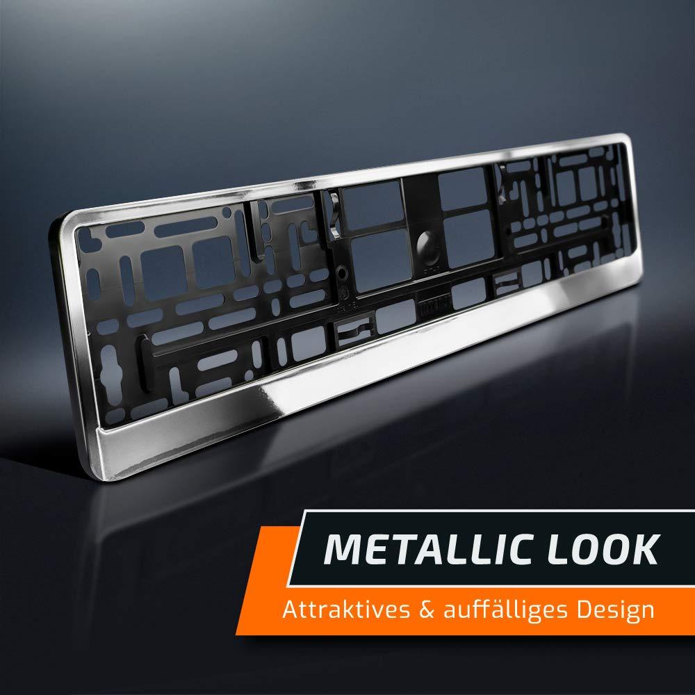 Chrom-Look 2 Kennzeichenhalter Silber Hochglanz 520 x 110 mm schwarz
