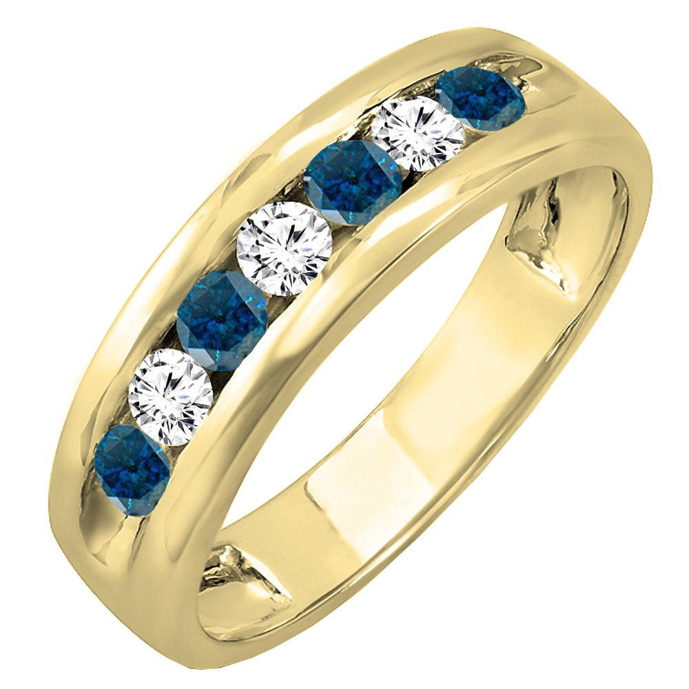 Dazzlingrock Collection 0.85 Carat (ctw) 14K Round White & Blue Diamond Mens Anniversary Wedding Ring, Yellow Gold, Size 10.5