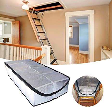 Attic Stairway Insulator Fireproof Attic Stairs Tent Insulation Cover With Easy Access Zipper Double Sided Aluminum Foil Door Insulator Kit Amazon Co Uk Kitchen Home