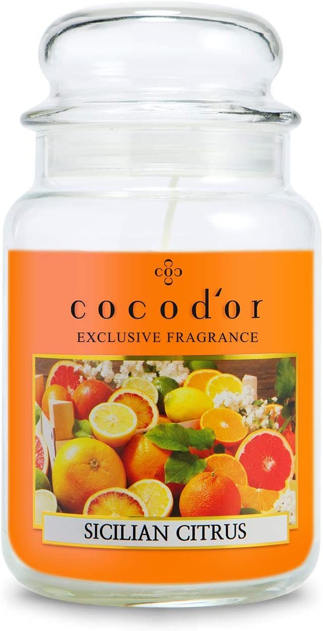 Cocod'or Large Jar Candle / Sicilian Citrus / 120-150 Hour Extended Burn Time Made in Italy / Halloween Decoration, Home Deco, Interior