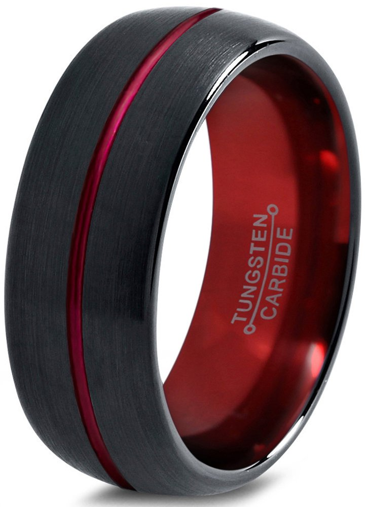 Tungsten Wedding Band Ring 8mm for Men Women Red Black Domed Brushed Polished Size 8.5 by Chroma Color Collection (Image #1)