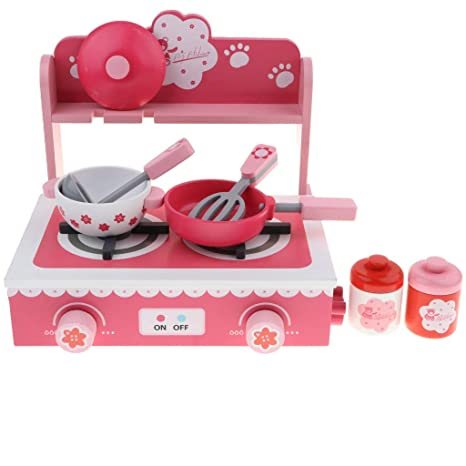 Amazon.com: DYNWAVE Play Kitchen Set – Pink Kitchen Sets of ...