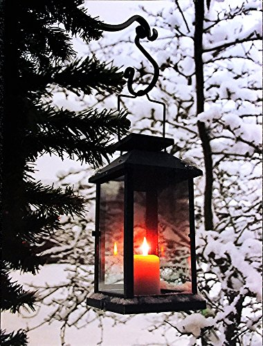 BANBERRY DESIGNS Winter Canvas Wall Art - Light Up Winter Scene with Glowing Black Lantern - LED Canvas Prints - Lighted Christmas Wall Art]()