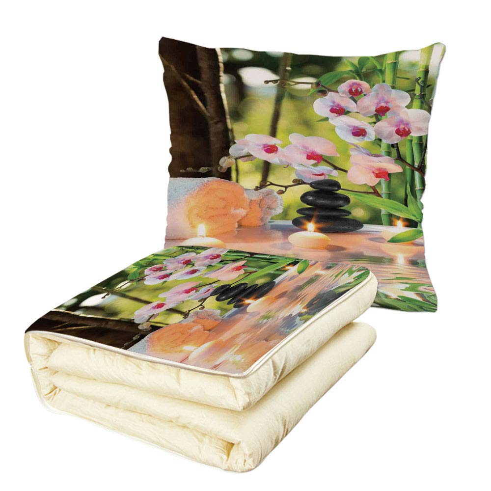 Quilt Dual-Use Pillow Spa Decor Massage Composition Spa with Candles Orchids Stones in Garden Multifunctional Air-Conditioning Quilt