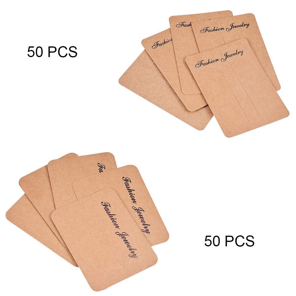 PandaHall 200 Pezzi 2 Formati Cartoncini per Display orecchino di Cartone Cartellini per Gioielli Neri Confezione di Etichette per organizzatore di Gioielli